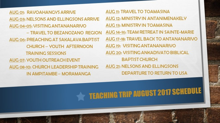 August 2017 Teaching Trip Schedule
