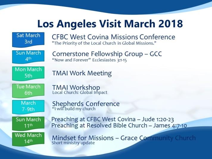 LA visit schedule March 2018